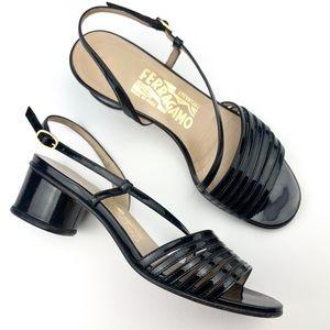 Salvatore Ferragamo Patent Black Leather Sandal